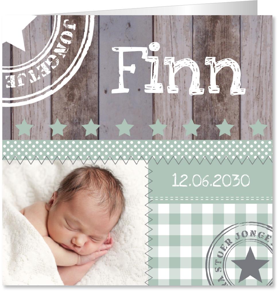 Geboortekaartje foto mintgroen