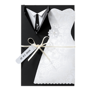 Chique trouwkaart met bruiloftskleding I Belarto 726024