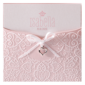 Chique geboortekaart met zilveren hartje I Belarto 715011