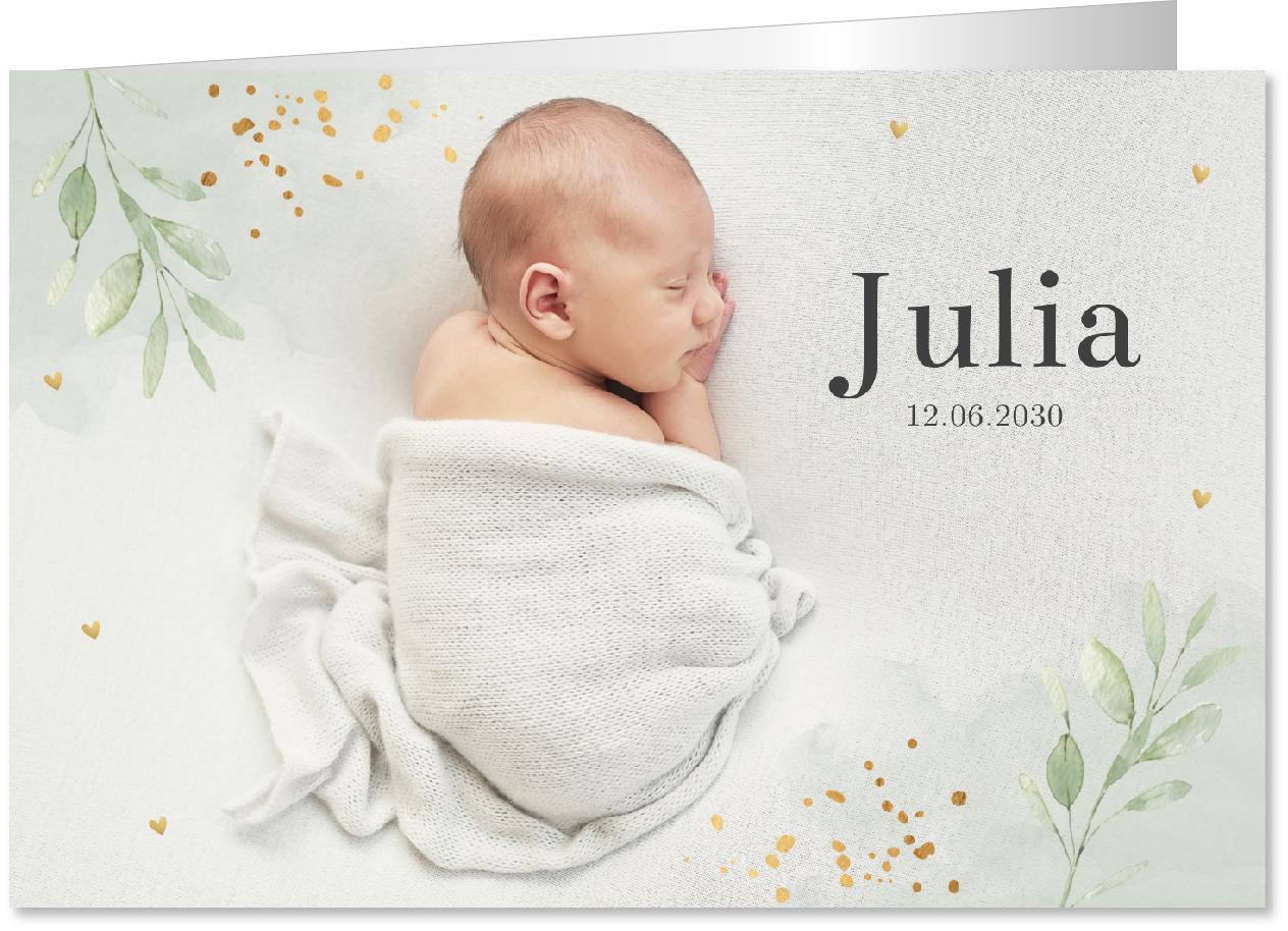 Geboortekaartje foto waterverf goudlook