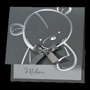 Klassiek geboortekaartje met zilverkleurige teddybeer I Buromac 507055