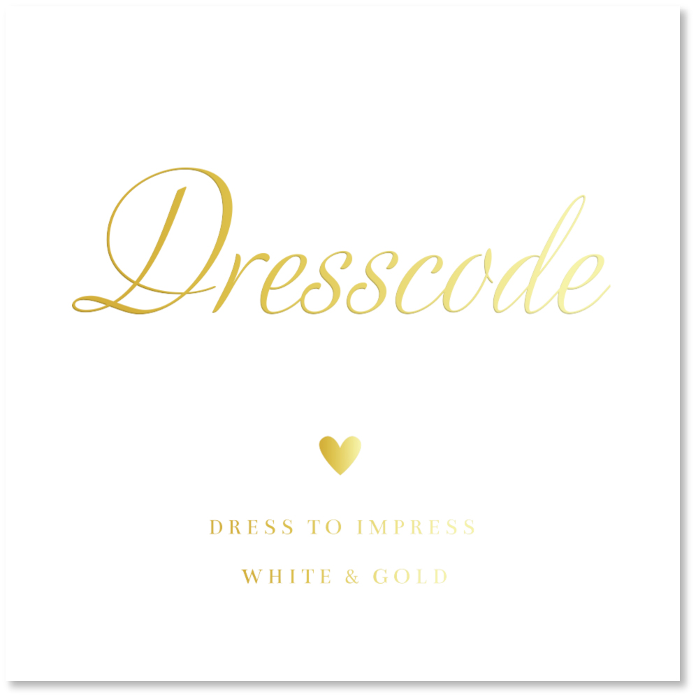 GOUDFOLIE dresscode kaartje wit goud