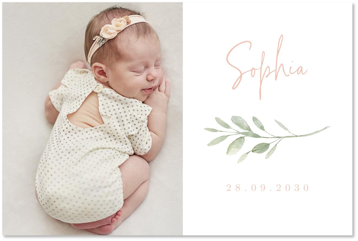 Clean geboortekaartje meisje foto
