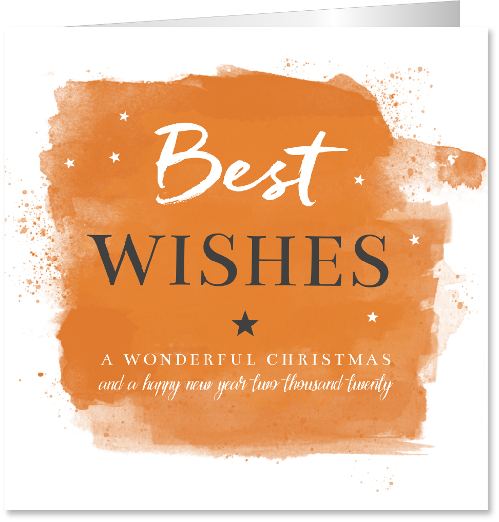 Zakelijke kerstkaart oranje grijs wit