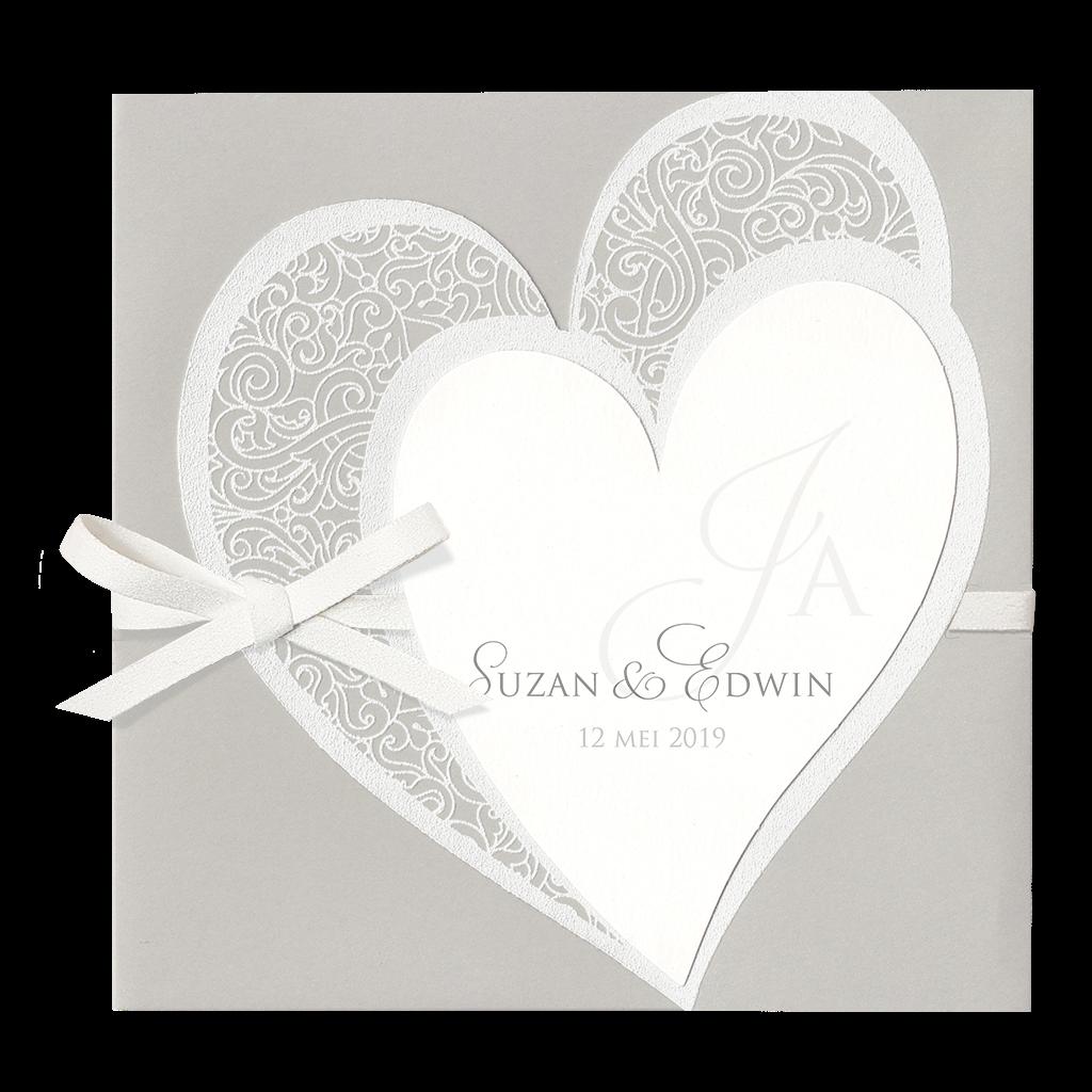 Klassiek trouwkaartje van Belarto met hartjes I 727041