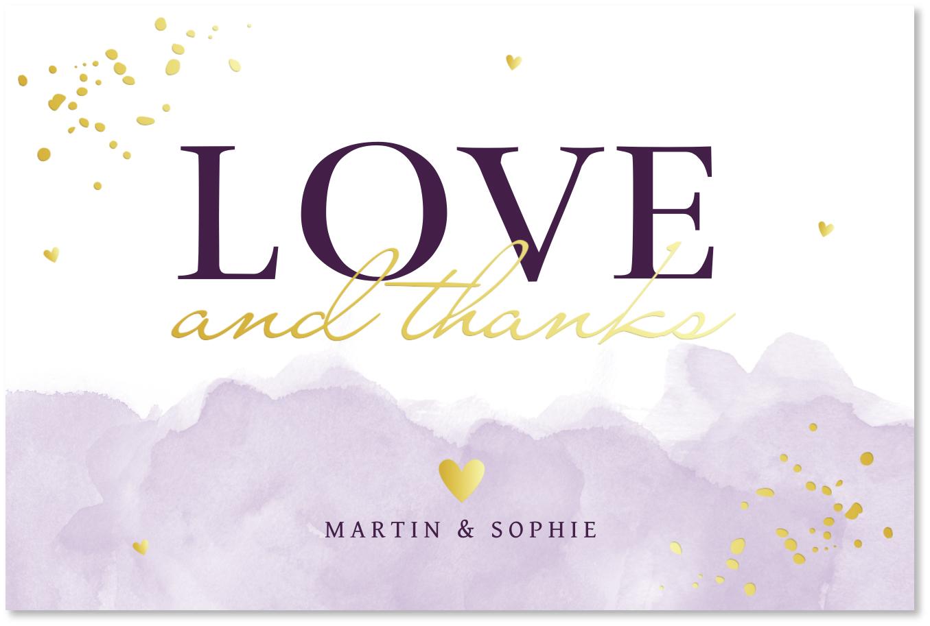 GOUDFOLIE Bedankkaart bruiloft waterverf lila