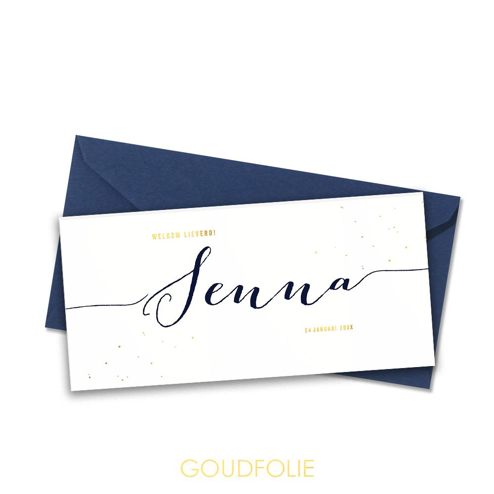 Goudfolie geboortekaartje goud, donkerblauw en spetters