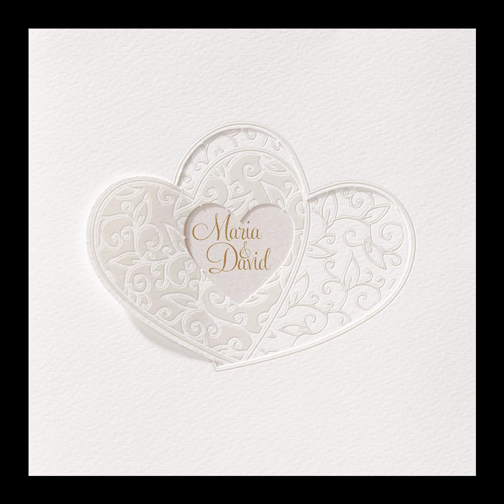 Stijlvol trouwkaartje met harten I 726908