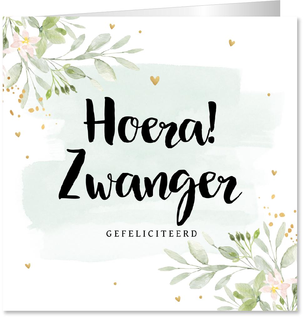 Felicitatie zwanger bloemen waterverf