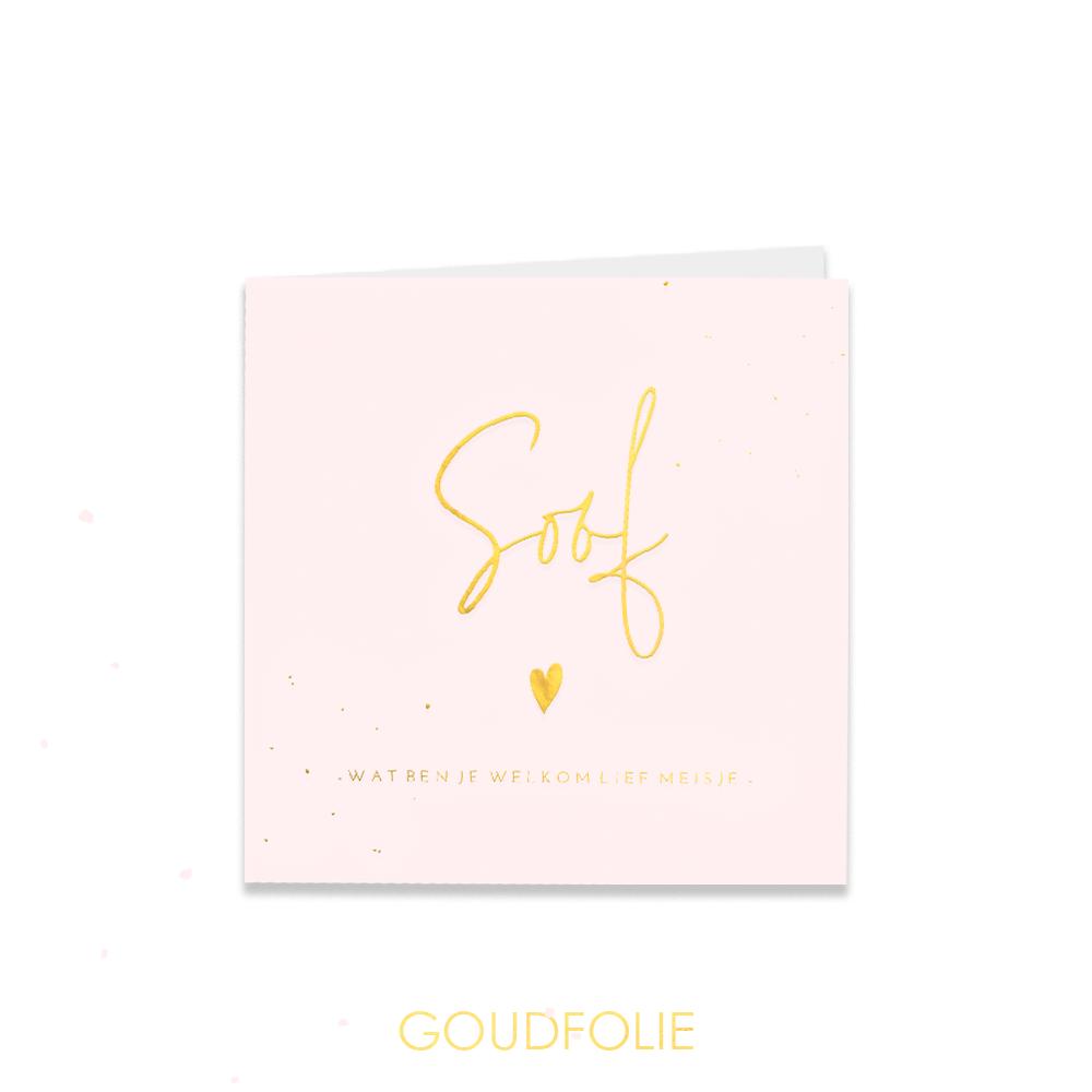 Goudfolie geboortekaartje met goud en zachtroze
