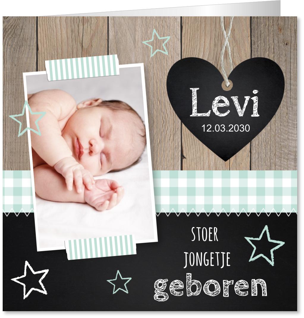 Geboortekaartje foto hout hartje