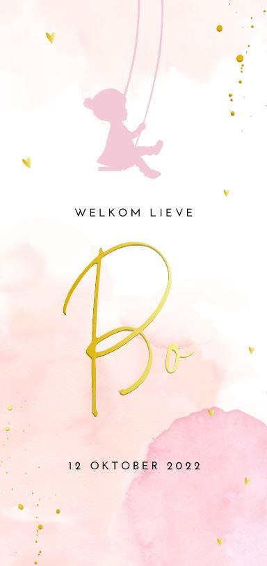 Lief goudfolie geboortekaartje watercolour roze