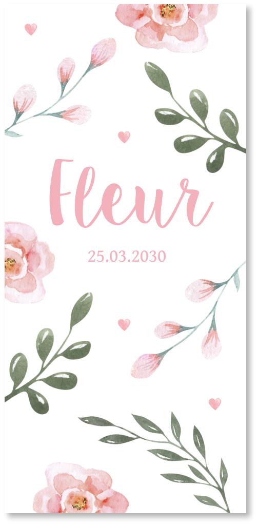 Geboortekaartje waterverf bloemen
