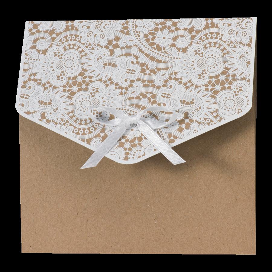 Klassieke trouwkaart van Buromac met kraftpapier en kant I 108104