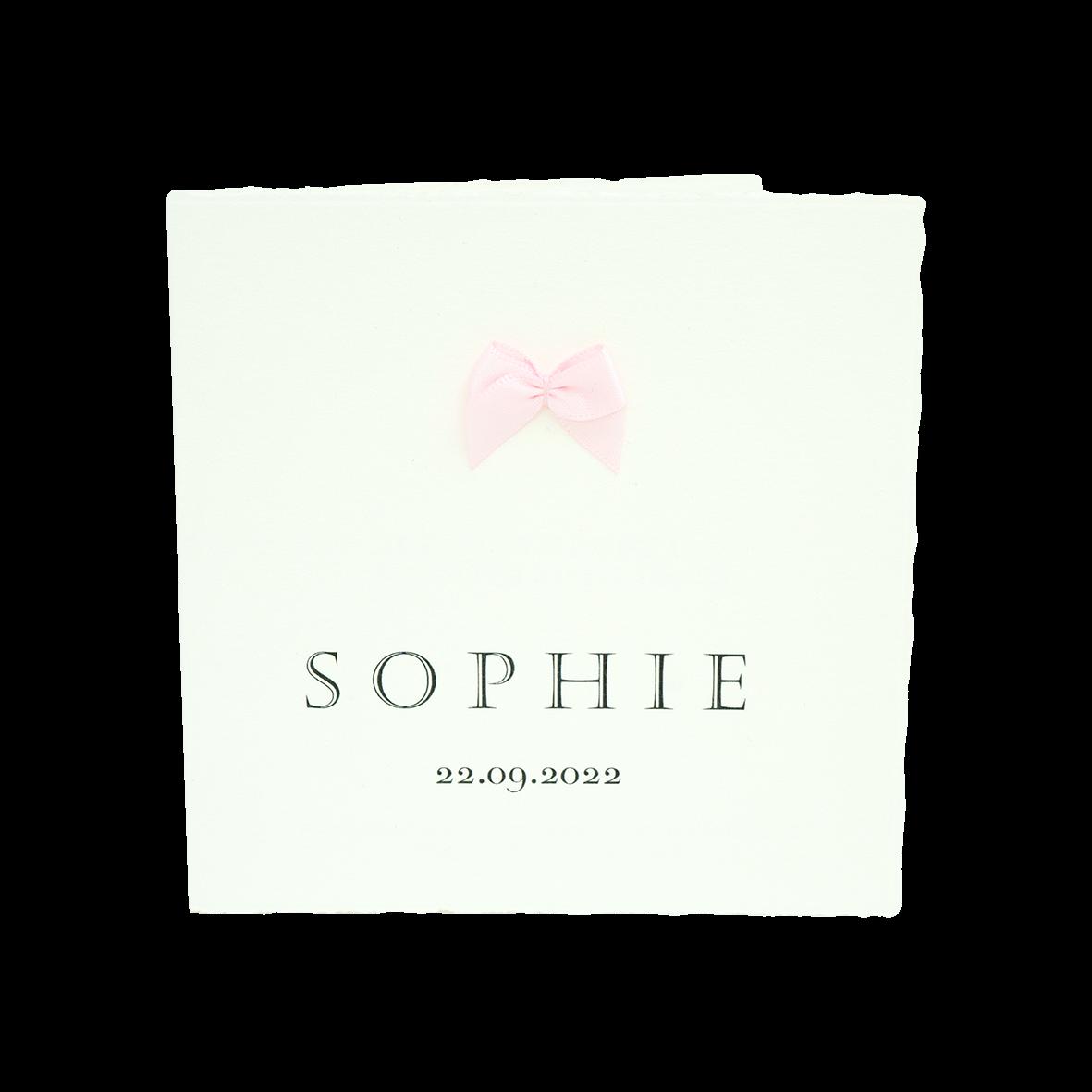 Klassiek geboortekaartje met roze strikje