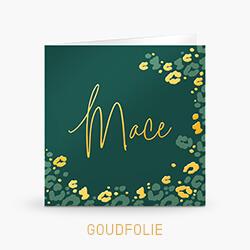 Goudfolie geboortekaartje jongen met groen en gouden panterprint