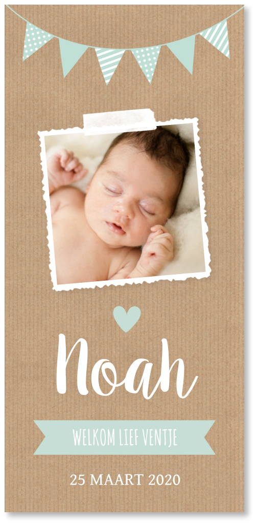 Geboortekaartje kraft foto