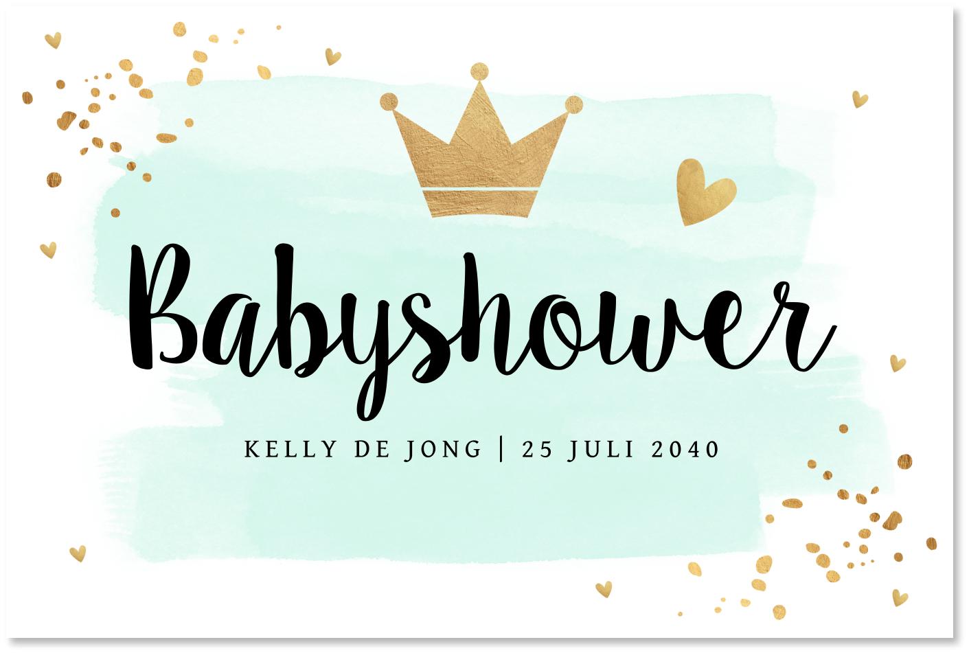 Babyshower waterverf mintgroen