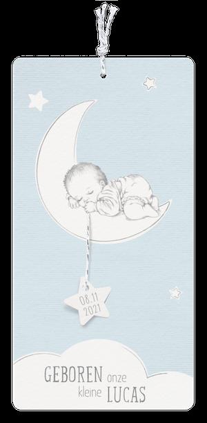 Lief babykaartje met slapend kindje maan en sterren I Belarto 718016
