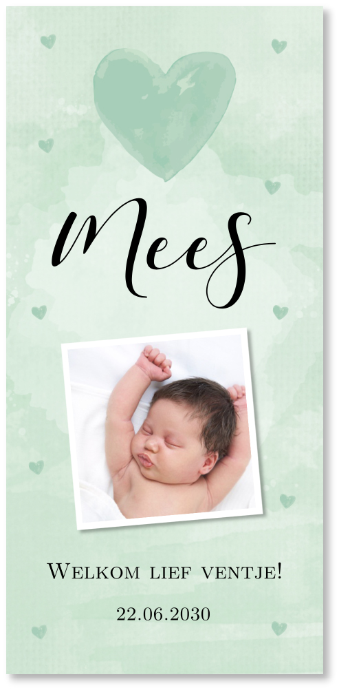 Geboortekaartje jongen foto waterverf