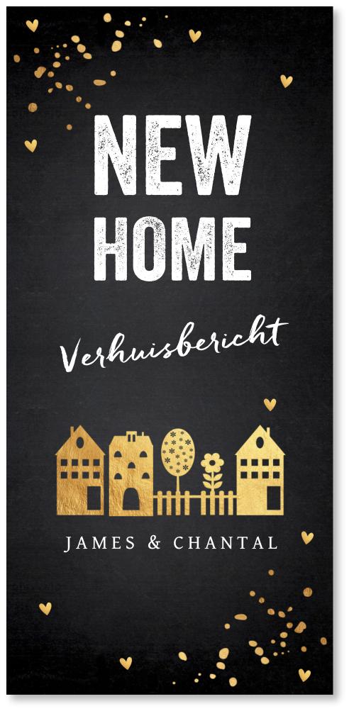 Verhuiskaart huisjes confetti goudlook