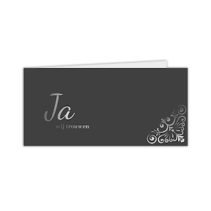Zilverfolie trouwkaart met chique ontwerp