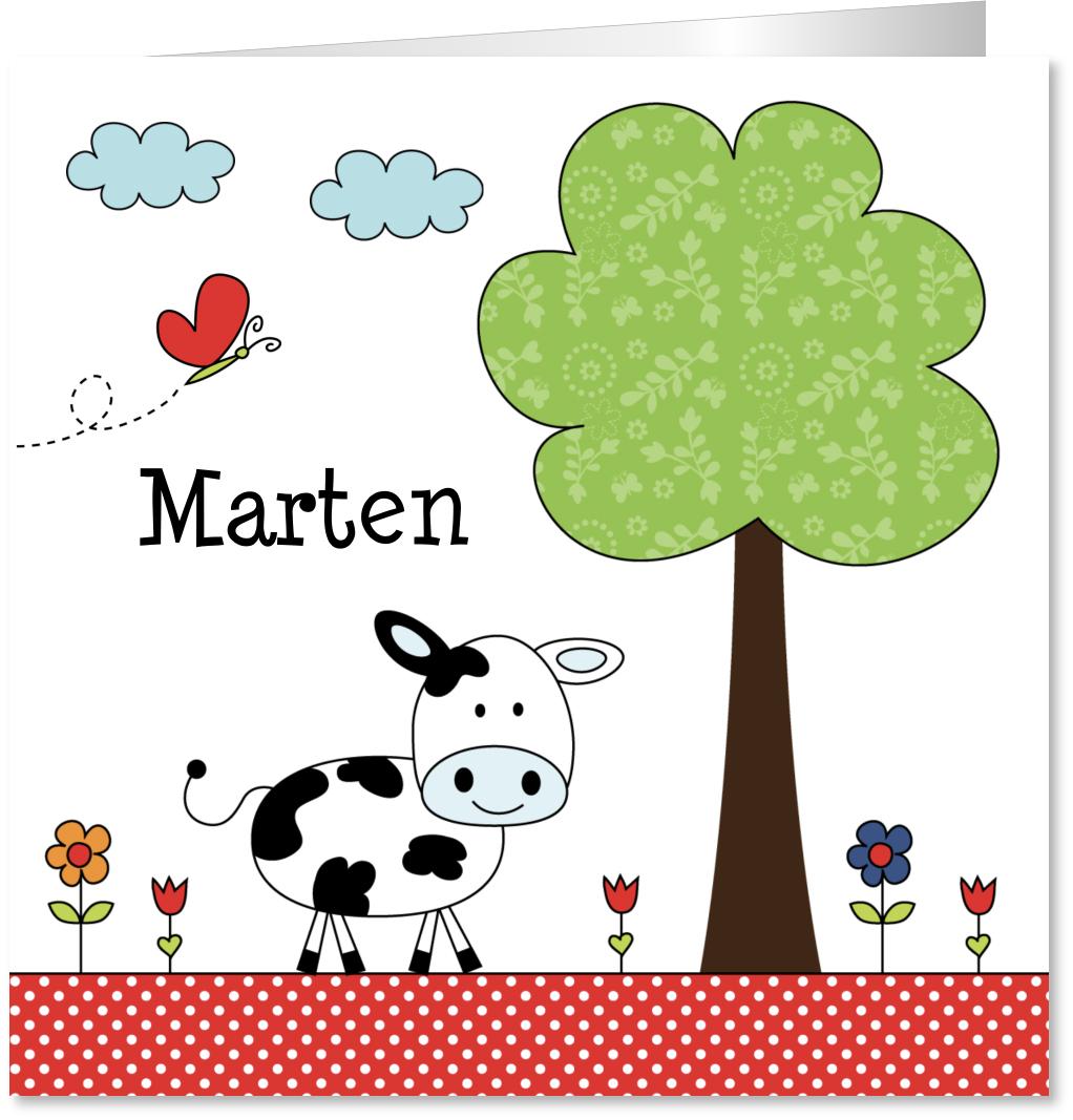 Geboortekaartje koe boom