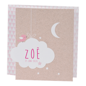 Hippe babykaart met wolkje en maan I Buromac 586075