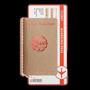 Hippe trouwkaart - paspoort en boarding pass I 726021