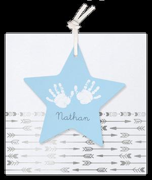 Stoer geboortekaartje van Belarto met pijltjes en ster I 718014