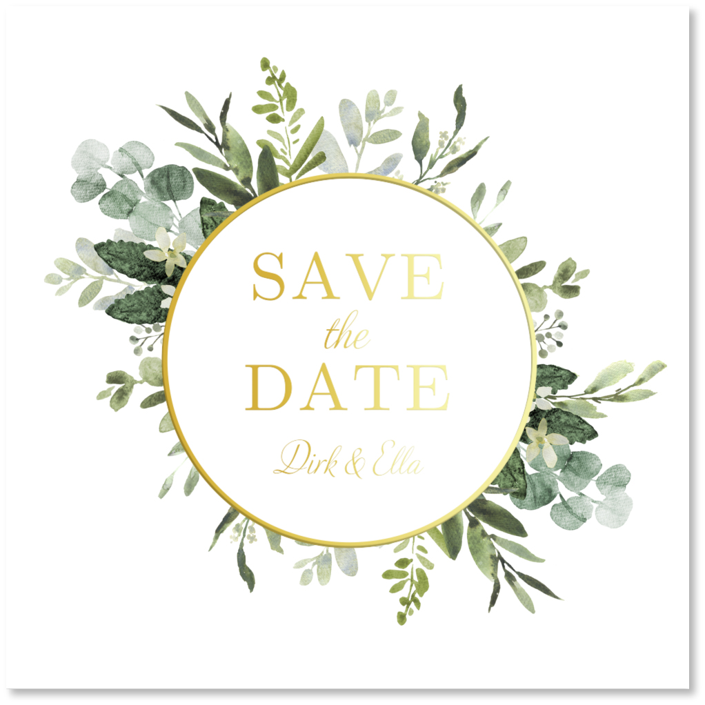 GOUDFOLIE Save the Date kaart botanisch