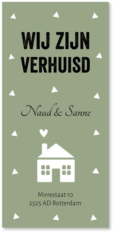 Verhuiskaart groen huisje