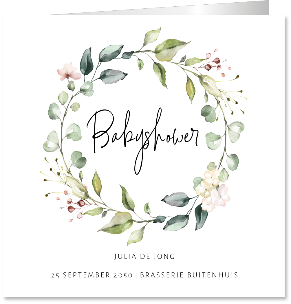 Babyshower kaart bloemenkrans