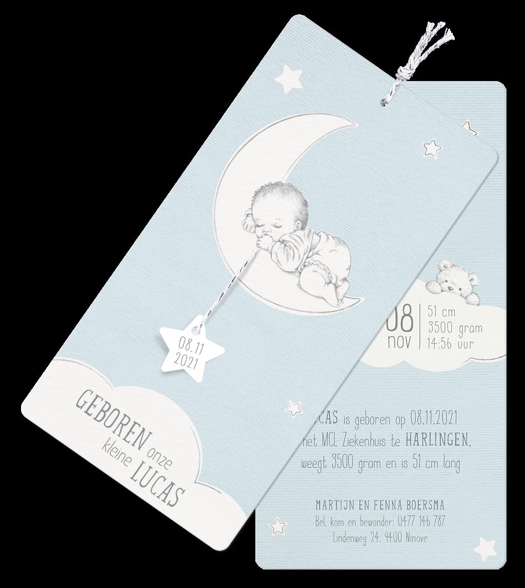 Lief geboortekaartje met slapend kindje maan en sterren I 718016