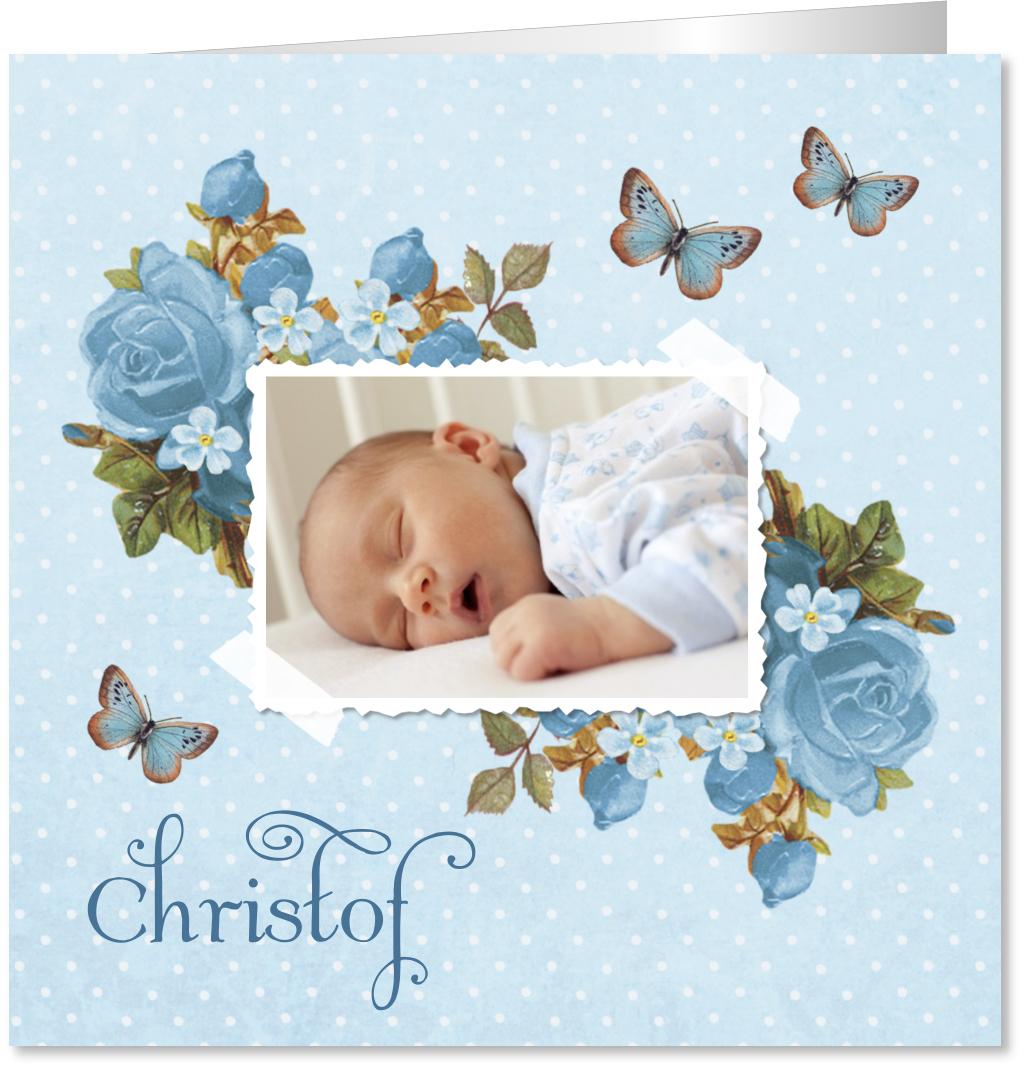 Geboortekaartje bloemen foto