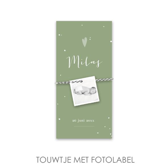 Stoer geboortekaartje fotolabel vintage groen