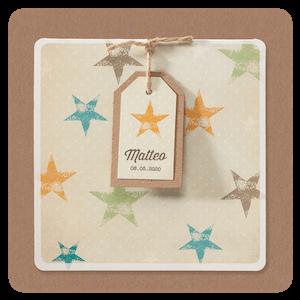 Stoer geboortekaartje met gekleurde sterren I 715069