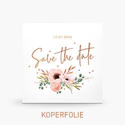 Koperfolie Save the date kaart met mooie bloemen