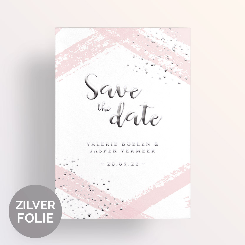 Zilverfolie save the date strepen en stippels