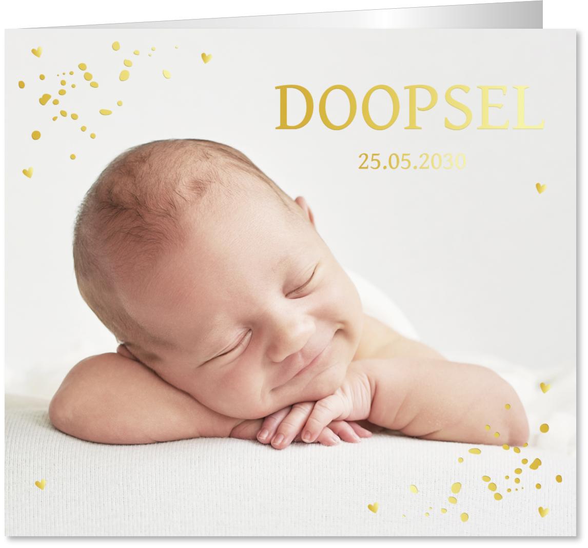 GOUDFOLIE doopkaart foto confetti