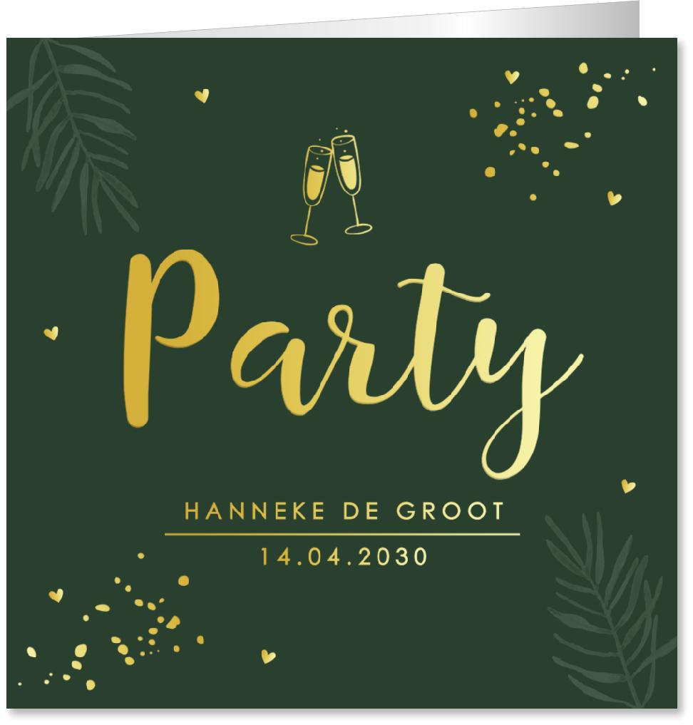 GOUDFOLIE uitnodiging verjaardag confetti