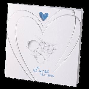 Getekend geboortekaartje met zilveren hart jongen I 715924j