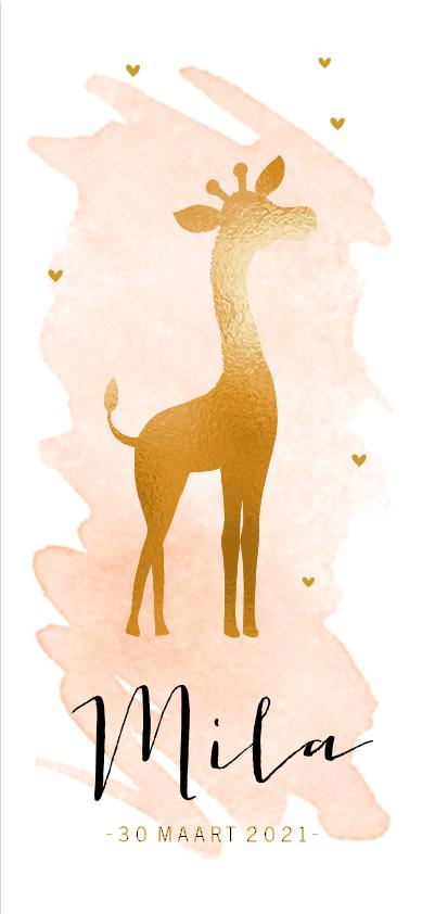 Trendy goudfolie babykaart met giraffe