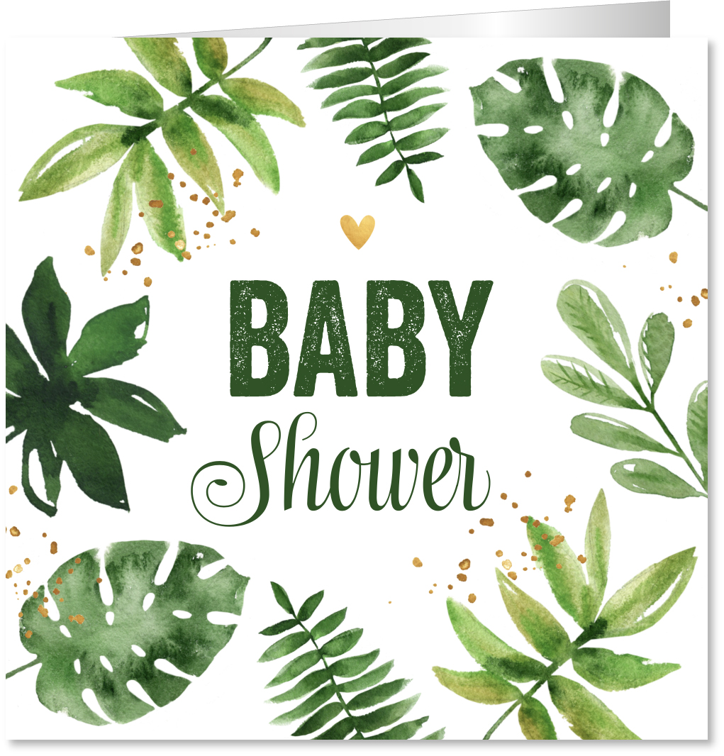 Babyshowerkaart botanical