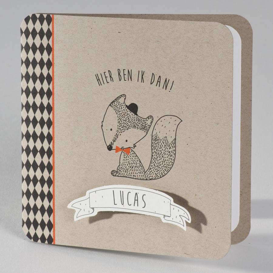 Stoere geboortekaart met vosje op kraftpapier 586011