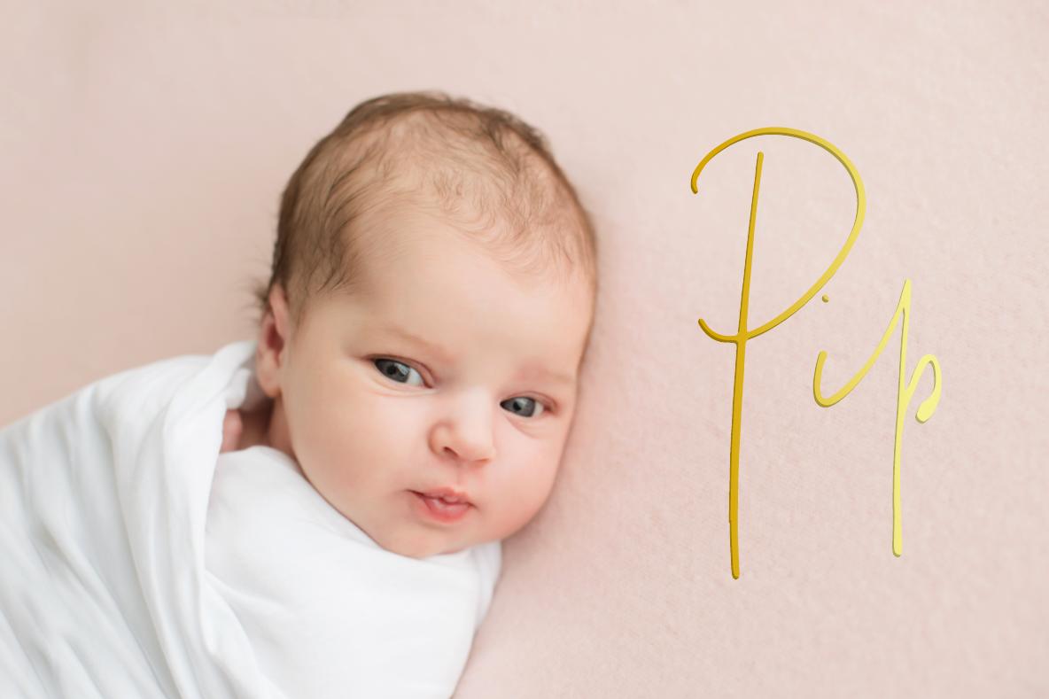Geboortekaartje meisje goudfolie en persoonlijke foto