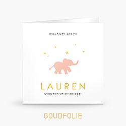 Geboortekaartje meisje goudfolie met sterren en lieve olifant