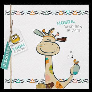 Bohemian geboortekaartje Belarto met giraffe