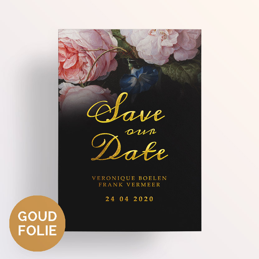 Goudfolie save the date floral chique