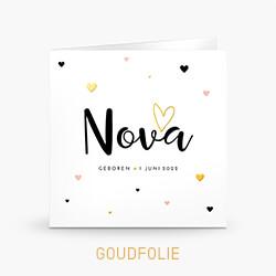 Goudfolie geboortekaartje meisje met gekleurde hartjes en foto
